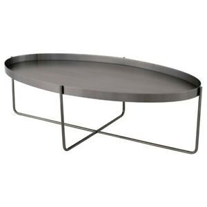 "54"" L Oval Coffee Table Brushed Graphite Modern Contemporary Metal"