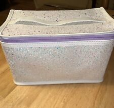 Clinique Skincare Makeup Beauty Cosmetic Train Case Bag Glitter White/Purple