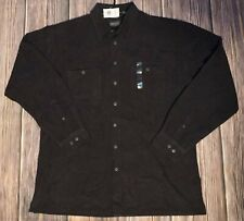 Mens Alexander LLoyd XLT Big & Tall Sueded Long Sleeve Black Shirt NWT