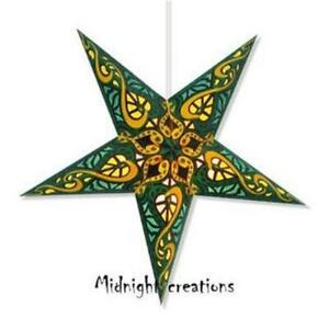 PAPER STAR LIGHT HANGING LANTERN  Green yellow  'Trance'  Includes hanging cord
