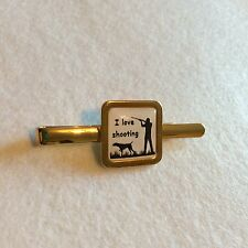 """Square """"I Love Shooting"""" Gold Plated Tie slide game shooting ideal gift Gun Dog"""