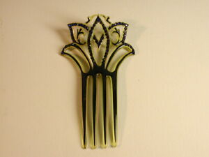 Vintage VICTORIAN Celluloid Hair Comb with Blue Rhinestones
