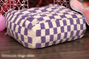 New Square Ottoman Pouf Cactus Handmade Footstool Berber Shaggy Poufs Checkred