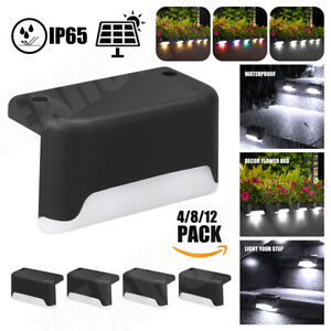 8/12PCS Solar Powered LED Fence Wall Light Garden Lamp Step Path Decking Outdoor