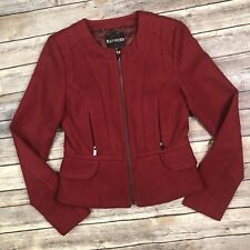 NWT $138 Express Women's XS Red Burgundy Moto Zip Lacquer Military Ruffle Jacket
