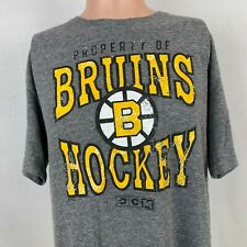 CCM Boston Bruins Vintage Style T-Shirt NHL Hockey Pro Okd Grey Size Large