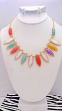 Clip on gold, peach, seafoam, nacre pointed stone necklace & earring set