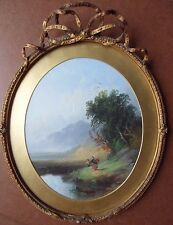JOSEPH HORLOR 1809-1887 ORIGINAL SIGNED OIL PAINTING 'LANDSCAPE WITH FIGURES'