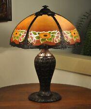 Arts & Crafts Reverse Painted Lamp Six Panel Art Nouveau Slag Glass Lamp