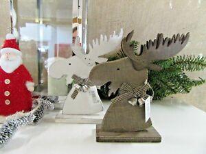 schöner  Deko Elch Kopf weiß  ca 20 cm hoch Holz shabby chic Advent Weihnachten