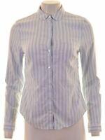 JACK WILLS Womens Shirt UK 10 Small Blue Striped Cotton  FB02