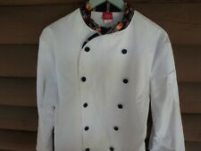 New Dickies Chef Coat 38 Unisex Button Black Cuffs Collar with hot pepper design