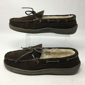 Clarks Bruno Womens 9M Casual Mocassin Slippers Brown Suede Faux Fur Comfort