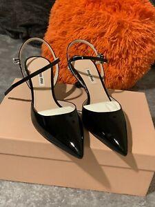 Miu Miu Patent Leather Jeweled Ankle Strap Pumps
