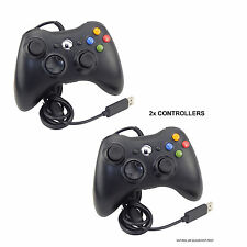2x BLACK USB WIRED CONTROLLER FOR MICROSOFT XBOX 360 PC WINDOWS LAPTOP DESKTOP