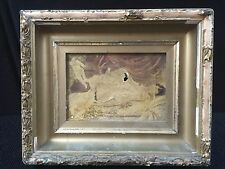 ANTIQUE GIRL AND CHERUB OIL ON CANVAS SIGNED MOORE, GESSO. NEED RESTORATION