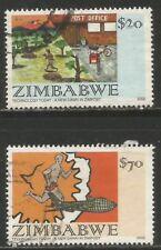 ZIMBABWE 2002 CHILDREN'S STAMP DESIGN CONTEST Sc#921-2 COMPLETE VFU SET 0012