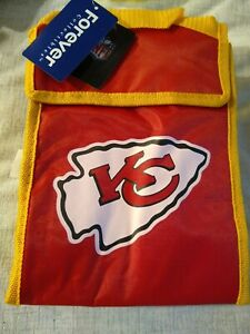 NFL KANSAS CITY CHIEFS INSULATED LUNCH BAG WITH hook loop CLOSURE 9x6x4
