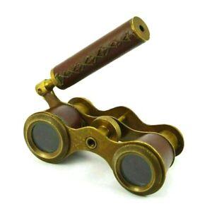 Antique Brass Binocular Nautical Spyglass Vintage Binocular With Leather Grip