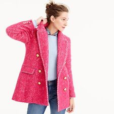 $345 NWT J CREW DIAMOND TWEED JACKET PEACOAT ,COAT  SIZE-4,8,12  #F5430 PINK