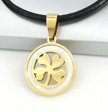 Gold Celtic Four Leaf Clover Pearl Pendant Womens Black Leather Choker Necklace