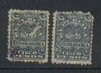 Pair Colombia 5 pesos, used, 2095
