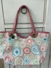 Coach F19184 Pastel Logo Beach Print Tote Nylon Purse Bag Pink Trim Large Euc