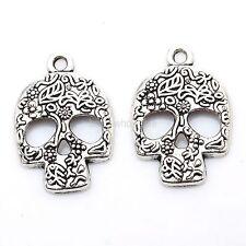 Wholesale  Tibetan Silver Skull Charms Pendants For Jewelry Making 20Pcs
