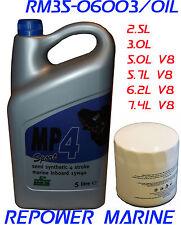 Oil & Filter Kit for 2.5, 3.0L 4 CYL, 5.0, 5.7L V8 Mercruiser, Volvo Penta, OMC