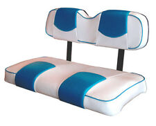 Club Car Ds 2000&Up Golf Cart Custom Seat Covers-Fr and Rear(Wh&Cancun Blue)