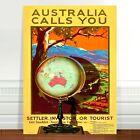 "Stunning Vintage Travel Poster Art ~ CANVAS PRINT 36x24"" Australia Calls"