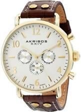 Akribos XXIV AK752BR Swiss Quartz Day Date GMT Goldtone Brown Mens Watch