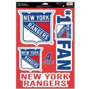 "NEW YORK RANGERS 4 PIECE MULTI-USE DECALS 11""X17"" WINDOWS WALLS CORN HOLE"