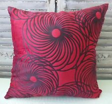 Retro Flowers Red and Black Cushion Cover