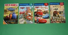 BOOKS Readers Disney Cars, Wall E, Turbo    LOT OF 4    #STPDD