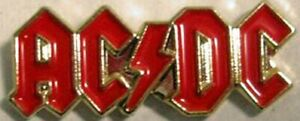 Metal Enamel Pin Badge - ACDC Gold/Red Rock Band Music Heavy Metal Rock & Roll