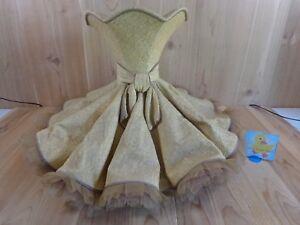 "Vintage Lamp Shade Beige RUFFLED DRESS SKIRT Design 17"" H x 26"" Crinoline Edges"