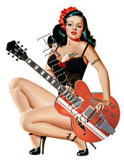 Sexy Pinup Rockabilly Guitar Tattooed Girl Waterslide Decal Sticker S678
