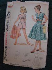 SIMPLICITY 2915 1940's CUTE VINTAGE SUMMER CHILD'S DRESS PATTERN SIZE 8