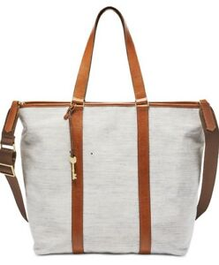 New Fossil Maya MD Work Tote chambray padded laptop cotton twill bag shoulder
