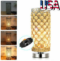 Crystal Table Lamp Bedside Nightstand Desk Reading Lamp Bedroom Living Room US