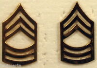 US Army Master Sergeant MSGT E-8 Shiny Rank Insignia Collar Pair Pins