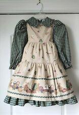 Vintage DAISY KINGDOM Factory Pinafore Dress Plaid Christmas Trees Bears 4 4T