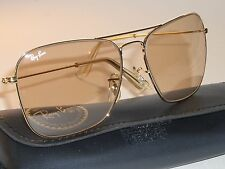 1980's 58mm VINTAGE B&L RAY BAN BROWN PHOTOCHROMIC CARAVAN AVIATOR SUNGLASSES