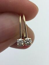 10K Yellow Gold Lever Back Earrings with 0.16 CTW Round Diamond 0.7 grams