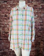 Westbound White Orange Green Pink Plaid Button Shirt Top Blouse Size 1X