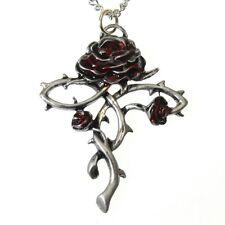 New Galraedia Rosycroix Rose Flower Cross Pendant Necklace Enamel GA16