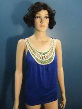 XL blue OPEN BACK CROCHET SEQUIN STUDDED COLLAR blouse by DEB