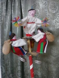 Folk Art noisemaker with dolls primitive vintage ooak art Mexico South America