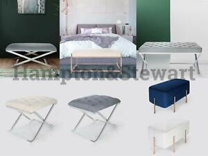 Hampton & Stewart Velvet Dressing Table Living Bedroom Chair Bench Stool X Legs